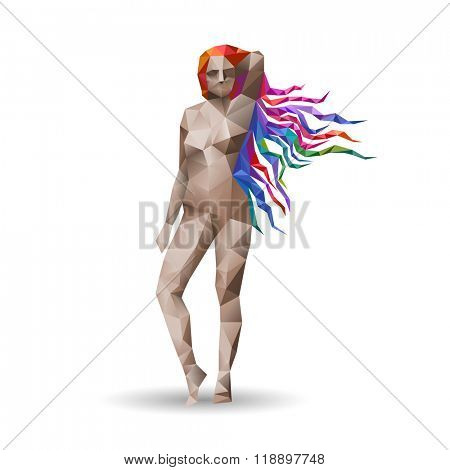 Virgo, woman with colorful hair, eps10 vector