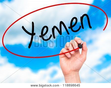 Man Hand Writing  Yemen  With Black Marker On Visual Screen