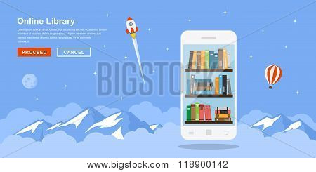 Online Library Concept