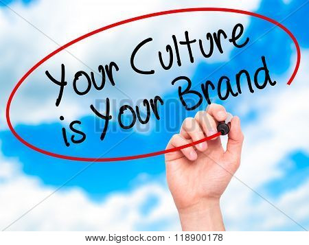 Man Hand Writing Your Culture Is Your Brand With Black Marker On Visual Screen