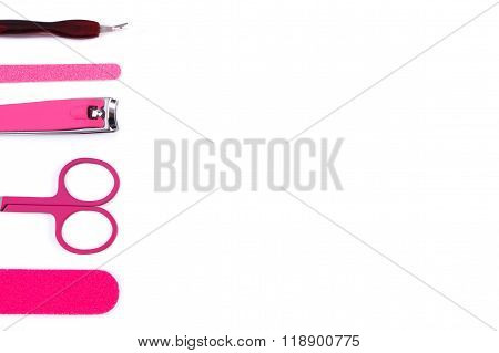 Set Of Manicure Or Pedicure Tools, Concept Of Nail Care, Copy Space For Text