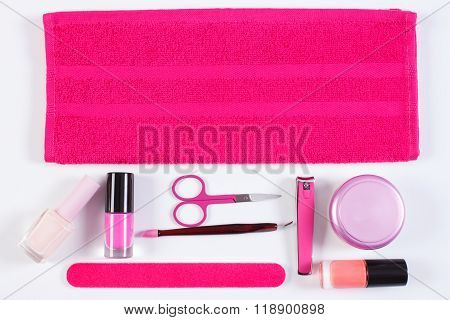 Cosmetics And Accessories For Manicure Or Pedicure, Concept Of Nail Care