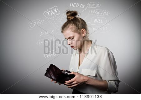 Woman And Empty Wallet. Financial Problems.