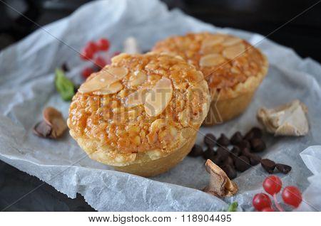 Close Up Sliced Almonds Tart