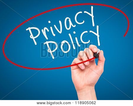 Man Hand Writing Privacy Policy Black Marker On Visual Screen