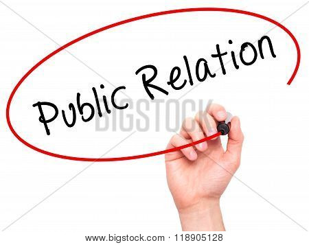 Man Hand Writing Public Relations With Marker On Transparent Wipe Board Isolated On White
