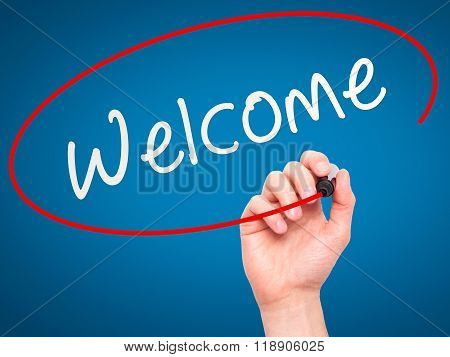 Man Hand Writing Welcome With Marker On Transparent Wipe Board