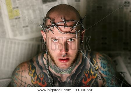 Scary man covered in tattoos