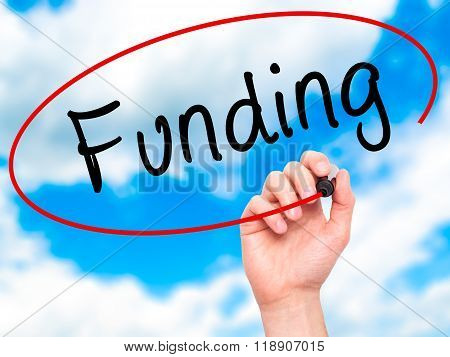 Man Hand Writing Funding With Marker On Transparent Wipe Board