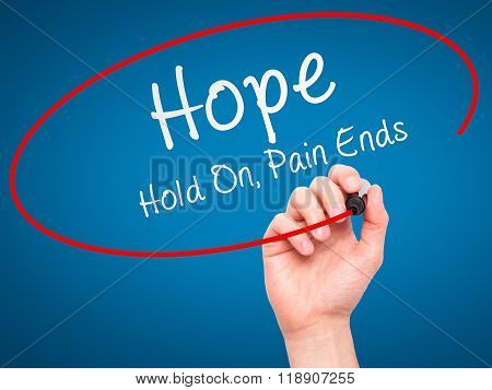 Man Hand Writing Hope With Marker On Transparent Wipe Board