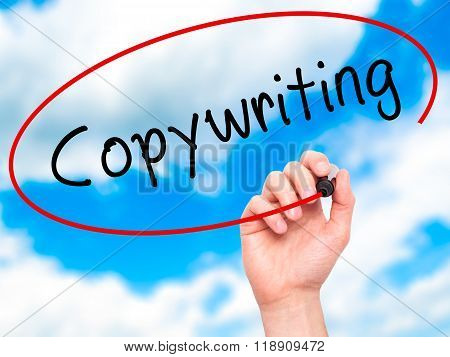 Man Hand Writing Copywriting On Visual Screen