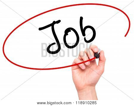 Man Hand Writing Job With Marker On Transparent Wipe Board