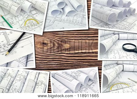 Collage of photos of drawings