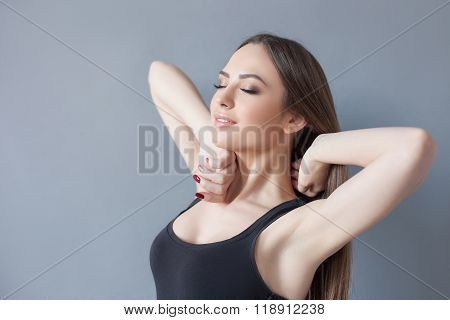 Attractive young fit woman after waking up