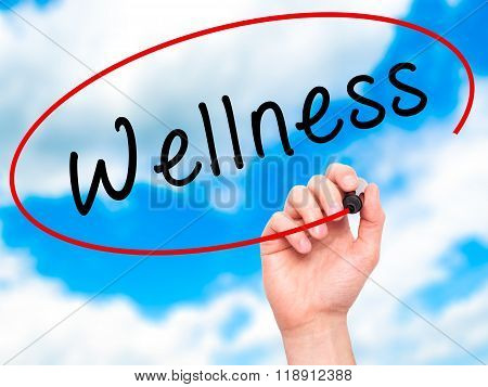 Man Hand Writing Wellness With Marker On Transparent Wipe Board
