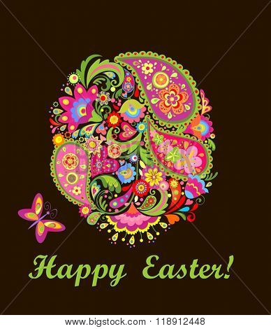 Decorative easter card with colorful floral egg