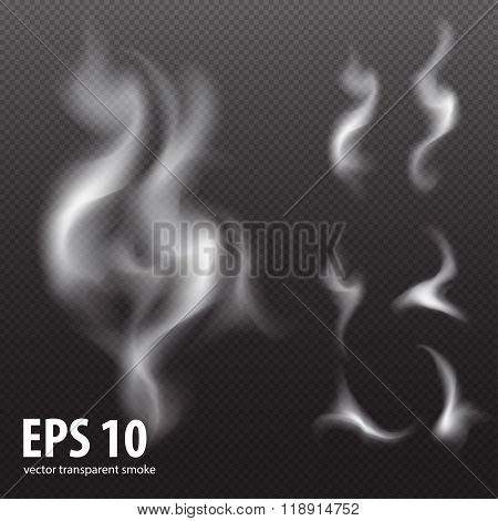 white smoke on transparent black background, Set of white smoke on black background, smoke backgroun