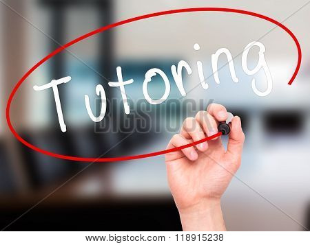 Man Hand Writing Tutoring With Black Marker On Visual Screen