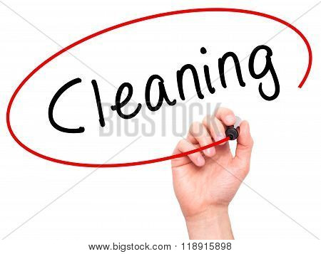 Man Hand Writing Cleaning With Black Marker On Visual Screen
