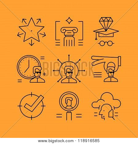 Set of line vectors icons in the flat style.