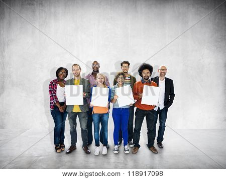 Diverse Group People Multiethnic Holding Paper Concept