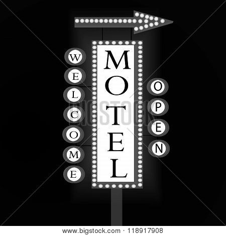 Black And White Retro Banner With Glowing Lights. Neon Sign Motel With Arrow.