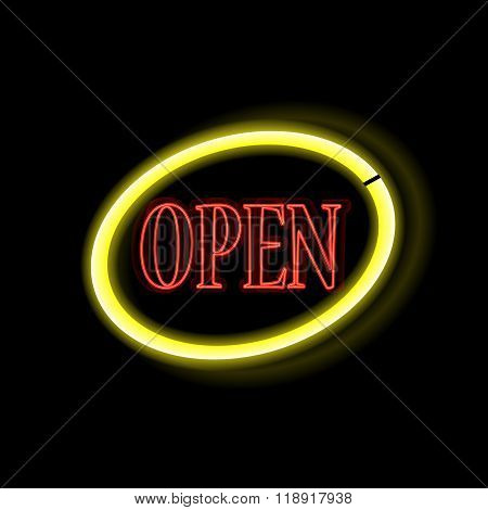 Neon Frame Open. Vintage Electric Sign Board With Bright Neon Lights. Vector Illustration