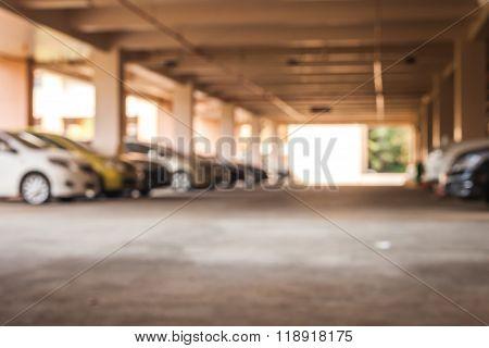 Blur image of car park on Building