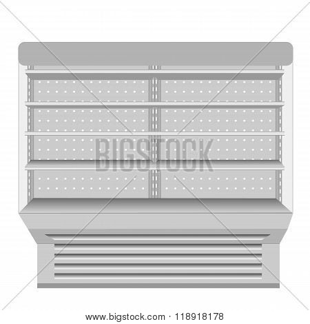 Cooled Regal Rack Refrigerator Wall Cabinet Blank Empty Showcase Displays. Retail Shelves. 3D Produc