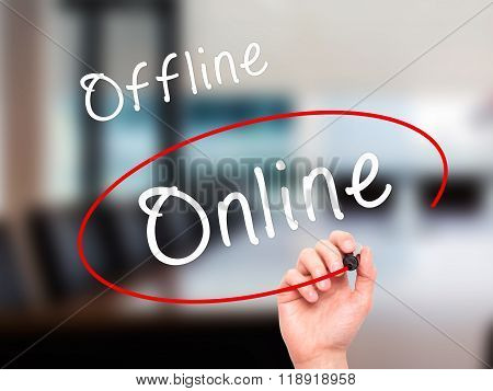 Man Hand Writing And Choosing Online Instead Of Offline With Black Marker On Visual Screen