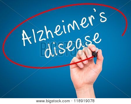 Man Hand Writing Alzheimer's Disease With Black Marker On Visual Screen