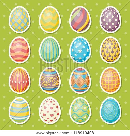 Set of sixteen eggs. Easter collection