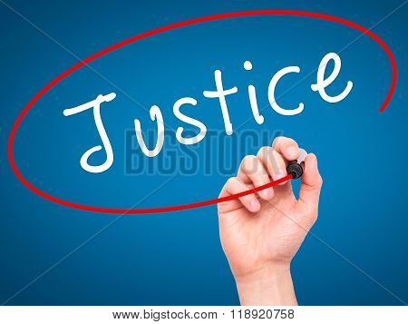 Man Hand Writing Justice With Black Marker On Visual Screen
