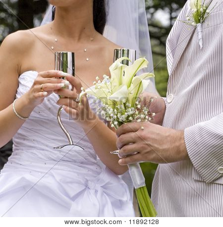 Fiance And Bride Keep Steel Glass