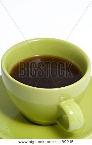 Green Coffee Cup Full Of Coffee