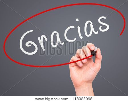 Man Hand Writing Gracias With Marker On Transparent Wipe Board