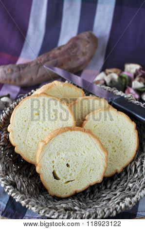 Sliced Sweet Potato Bread Put In Basket