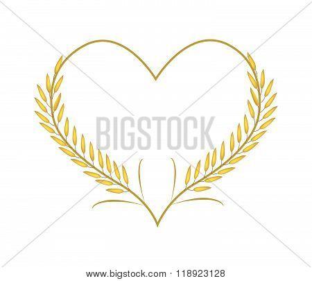 Golden Rice Or Jasmine Rice In A Heart Shape