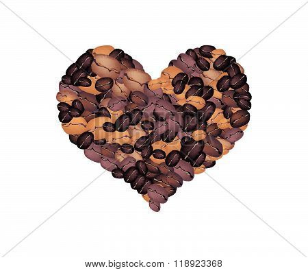 Stack Of Coffee Beans Forming In Heart Shape