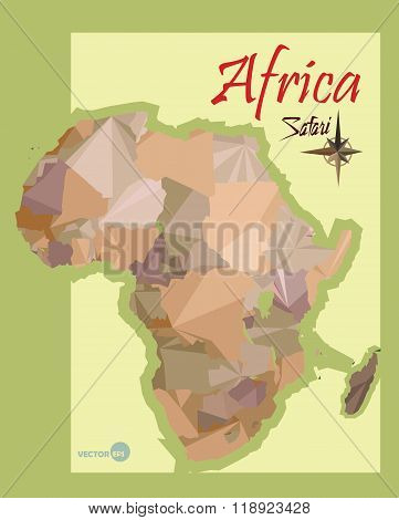 illustration of the map of Africa in the style polygon graphics. imitation vintage political map of