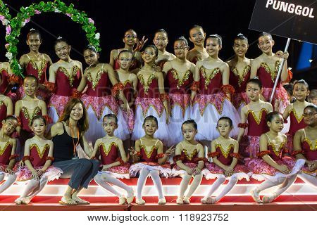SINGAPORE - JAN 18, 2016: Unidentified participants in the celebration of Chinese Lunar New Year. Chinese New Year popularly recognised as the Spring Festival and celebrations last 15 days.