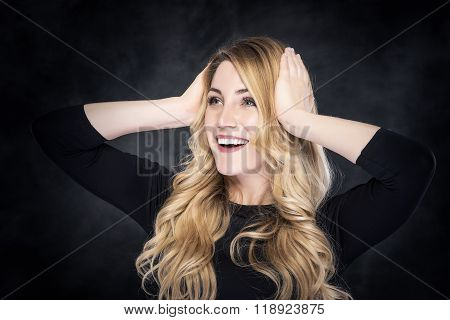 Cheerful Amazed Blonde Woman.