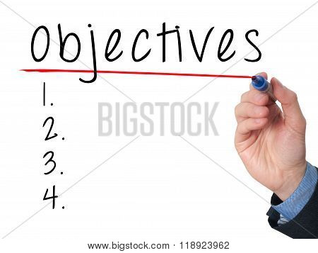 Man Hand Writing Objectives To Do List With Marker