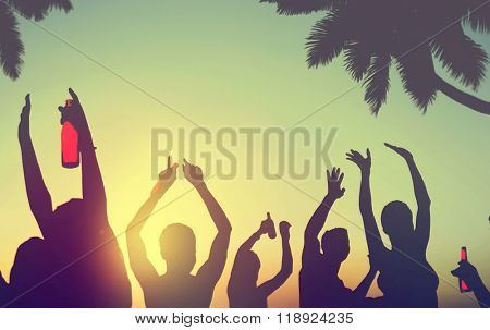 Silhouettes People Celebrating Drinking on a Beach Concept