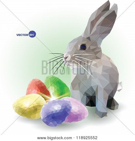 Rabbit with color set of five decorative eggs. Happy Easter for you. Low poly graphics, vector.