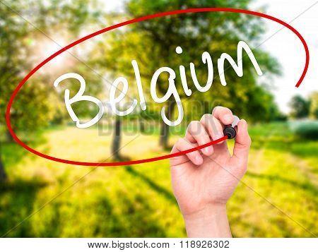Man Hand Writing Belgium  With Black Marker On Visual Screen