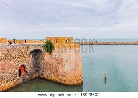 EL JADIDA, MOROCCO, APRIL 5, 2015: the old port in a historic city on the Atlantic coast of Morocco, in the province of El Jadida.