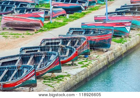 EL JADIDA, MOROCCO, APRIL 5, 2015:fishing boats in  the old port in a historic city on the Atlantic coast of Morocco, in the province of El Jadida.