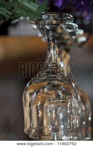 Row Of Empty Wine Glasses