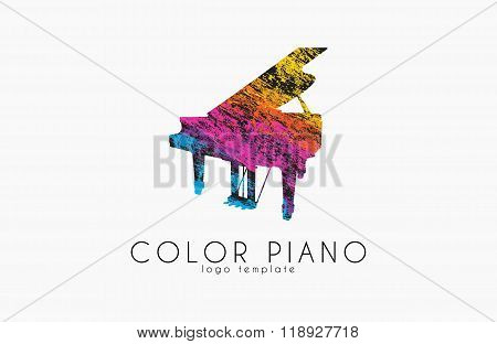 color piano logo. rainbow music logo. creative logo. piano in grunge style